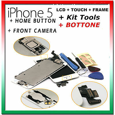 Apple Iphone 5 Vetro Touch Display Lcd Schermo Frame Assemblato Completo Bianco