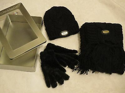Limited edition UGG luxury black hat, scarf & gloves gift set in tin, nice gift