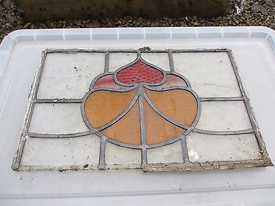 Art Nouveau Stained Glass Window Panel Architectural Antique Vintage Old Floral