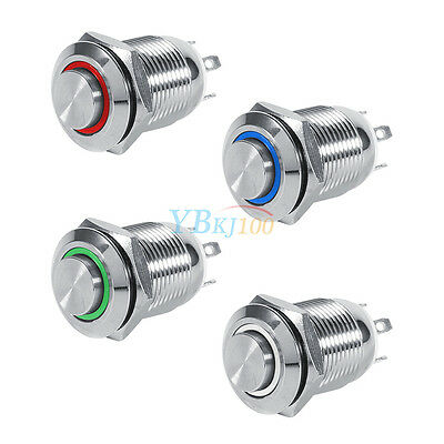 Waterproof Silver 12mm LED Metal Momentary Push Button latching Switch 1NO 4Pin