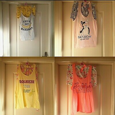 Primark Ladies Girls Character Vest Shorts Pjs Or Cami Set Sizes 6 - 20 Pyjamas