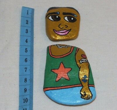 Hand Painted Stone Folk Art PEBBLE PEOPLE Body and Head X'mas Stocking Filler