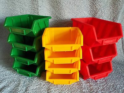 33 Plastic Space-Saver Storage Bins, 3 Sizes: Stackable & Wall Mountable.