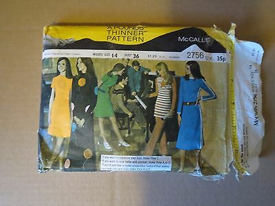 McCALLS VINTAGE 1970s  OUTFIT  PATTERN ( size misses 14)