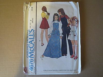 McCALLS VINTAGE 1970s  GIRLS OUTFIT  PATTERN ( size 7)