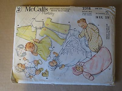 McCALLS VINTAGE 1950s  INFANTS LAYETTE & CHRISTENING DRESS  PATTERN (one  size)