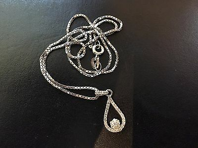 Diamond Set Pendant and Chain - 9CT White Gold.  Limited 10% reduction.