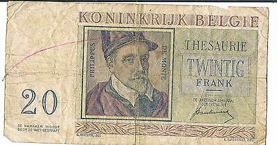 BELGIUM BANKNOTE 20 P132a 1950 VG