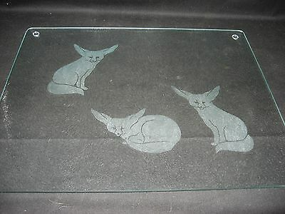 New Etched Fennec Fox Tempered Glass Cutting Board