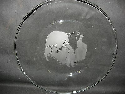 """New Etched Japanese Chin 8"""" Glass Bread Salad Dessert Plate"""