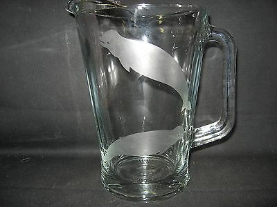 New Etched Beluga Whale Glass Pitcher