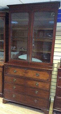 Antique Georgian Mahogany Writing  Secataire Bookcase
