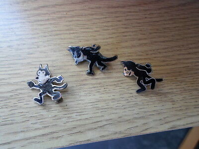 A Collection of 3 Vintage & Original Felix the Cat Brooches / Badges
