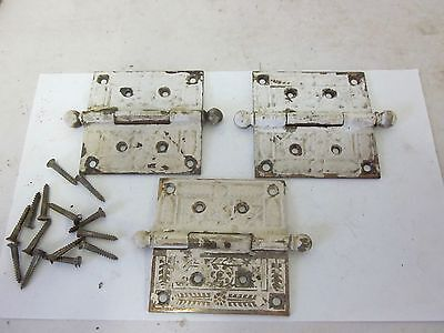 3 Ball End Victorian Detailed Salvaged Cast Iron Vintage 4 x 4 Door Hinges