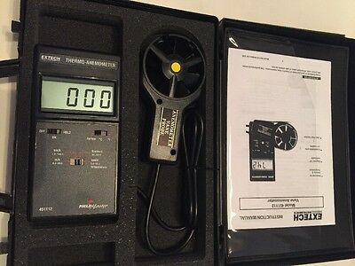 Extech FieldMaster 451112 Thermo-Anemometer in case w/ vane & instructions