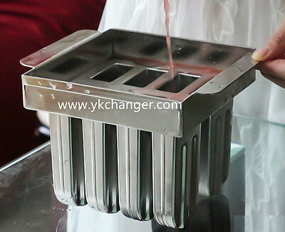 Ice cream popsicle mold DIY home use stainless steel 8pieces with stick holder