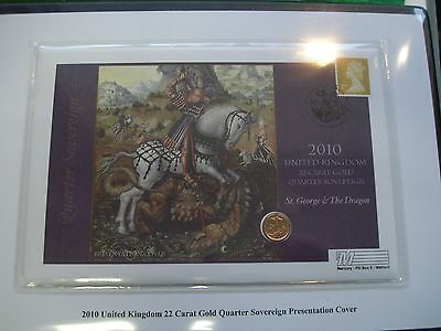 2010 22 Carat Gold Quarter Sovereign Limited Edition of 450 with COA FREEPOST