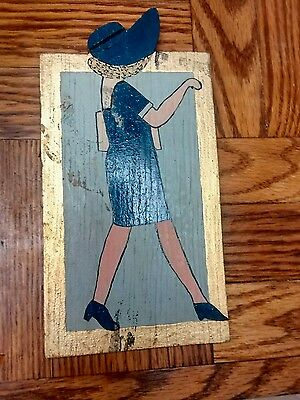 """Antique Vintage Carnival Style Folk Art Painted Plaque Unsigned """"Gus"""" ~4.5""""x8.75"""