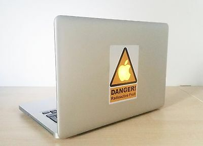 """Radioactive Fruit"" Funny Warning Sign Vinyl Sticker Decal Apple Macbook Pro/Air"