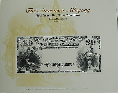 1997 BEP Souvenir Card Obverse 1882 20 Dollar National Currency Bay State Show
