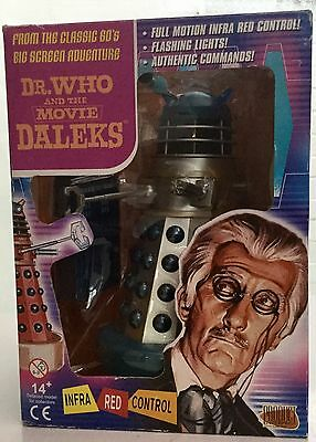 Dr Doctor Who 8 Inch Infra Red Remote Control Blue & Silver Talking Movie Dalek