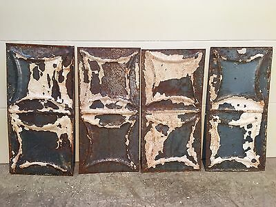 "4 - 12"" x 6"" Antique Ceiling Tin Tile Vintage Reclaimed Salvage Re Purpose Art"