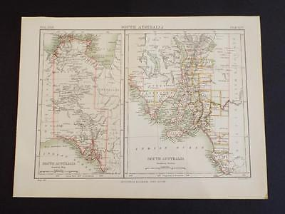 State Map Of South Australia - Vintage/antique Print C1910