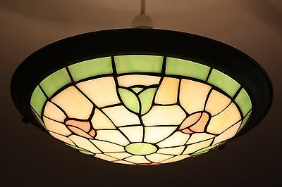 Tiffany-style Stained Glass Pendant Uplighter Light Shade