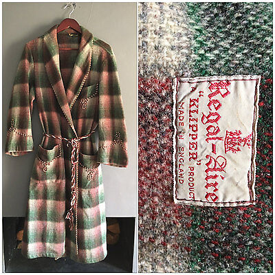 VINTAGE 1940s Mens Wool Dressing Gown Robe by Regal Aire TARTAN with Cord