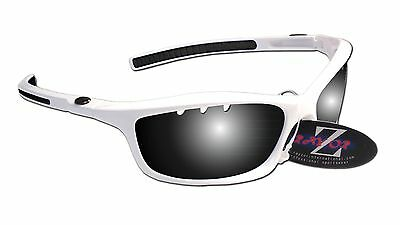 RayZor Uv400 White Vented Smoked Mirrored Lens Cricket Wrap Sunglasses RRP£49