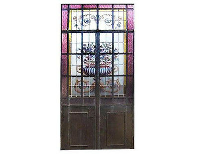 Double Door w/ Leaded And Hand Painted Glass Made In Iron #4423