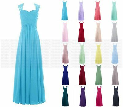 New Long Chiffon Formal Prom Party Evening Wedding Bridesmaid Dresses Size 6-18