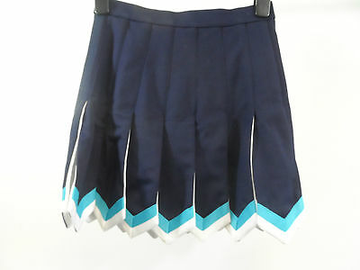 "Navy Blue Flyaway Skirt Turquoise Blue & White Braid Childs M 27"" W Box8327 N"