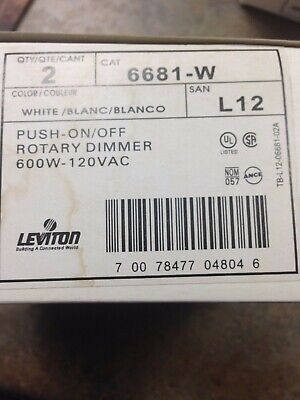 6681-W 3-Way Push On/off Rotary Dimmer