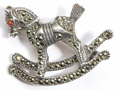 Vintage Art Deco Style Sterling Silver Marcasite Rocking Horse Toy Brooch Pin