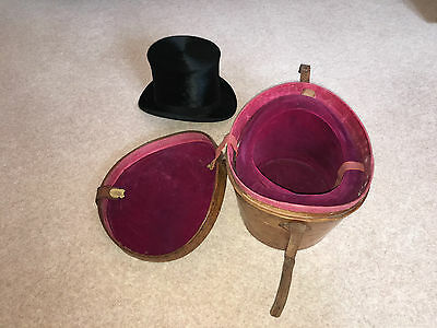 Cuthbertson London Antique Black Silk Top Hat  with Leather hat box