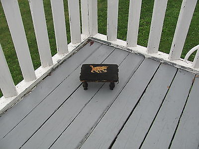 Antique Victorian Small Child's Bedside Step Stool with Hand Made Kitten Cat