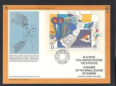 Cyprus 1989 Games Of The Small States Of Europe Winged Victory Nice F.day  Card