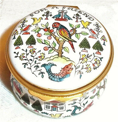 "Halcyon Days Enamel Hand Painted Sampler ""For A Friend"" Hinged Trinket Box"