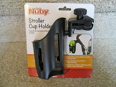 NUBY Stroller Buggy Shopping Cart CUP HOLDER Beach chair Pram Adjustable Clamp