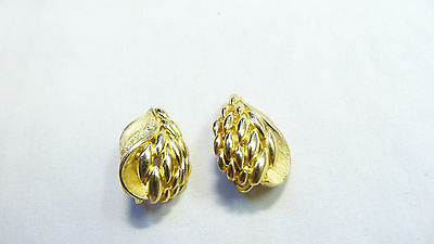 Vintage Gold Rhinestone Textured Leaf Clip On Costume Earrings