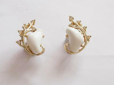 Vintage 1950's Signed Coro White Lucite Clear Crystal Gold Tone Earrings