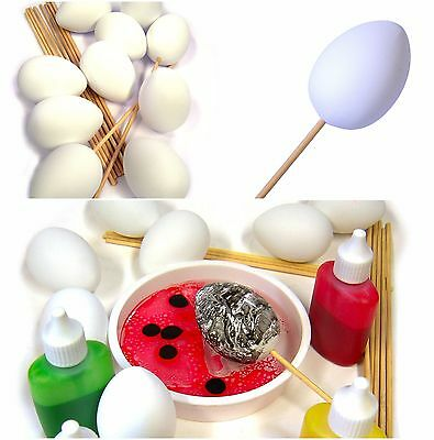 7050-10 - 56mm Primed Plastic Craft Eggs with Wooden Sticks x Pack 10
