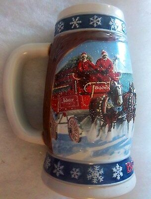 """1995 Budweiser """" Lighting The Way Home """" Holiday Beer Stein"""