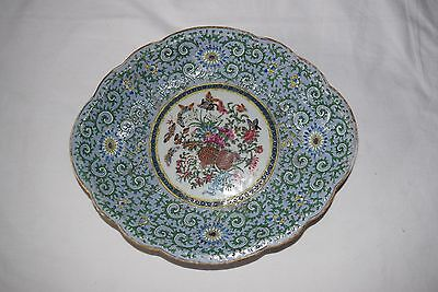 Antique Chinese plate famille rose blue and floral motif