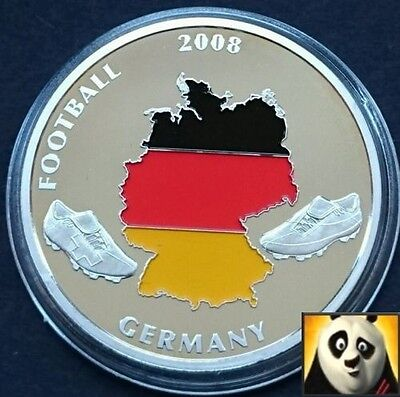 2008 40mm UEFA EURO Football Championship With Coloured Germany Map Coin Medal