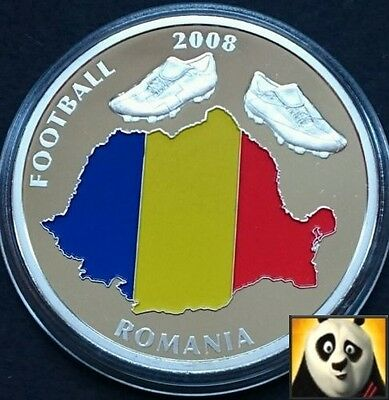 2008 40mm UEFA EURO Football Championship With Coloured Romania Map Coin Medal