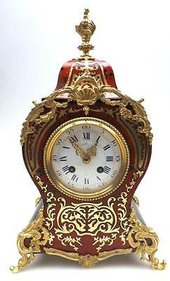 Antique French Red Shell Boulle Ormolu Inlaid 8 Day Bell Striking Mantel Clock