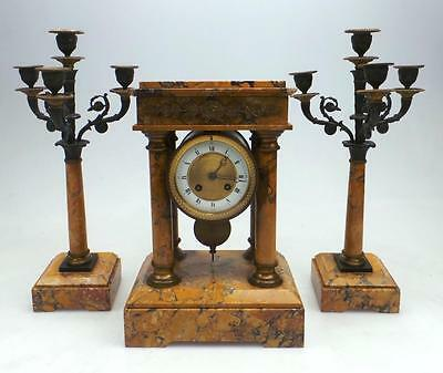 Amazing Antique 8 Day French Marble & Bronze Portico Mantel Candelabra Clock Set