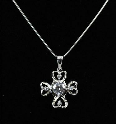 """Unusual Solid 925 Sterling Silver,CZ Pendant Necklace jewellery 18"""" + box"""